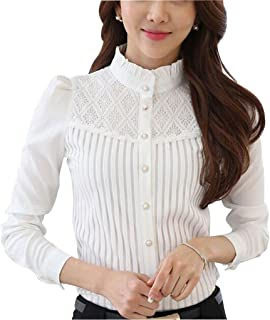 DPO Women's Vintage Collared Pleated Button Down Shirt Long Sleeve Lace Stretchy Blouse