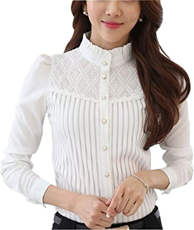 Blusa de encaje de manga larga con cuello alto para mujer