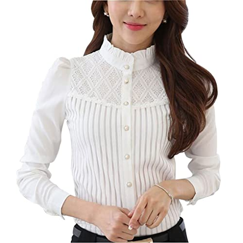 6005000bb8 DPO Women's Vintage Collared Pleated Button Down Shirt Long Sleeve Lace  Stretchy Blouse