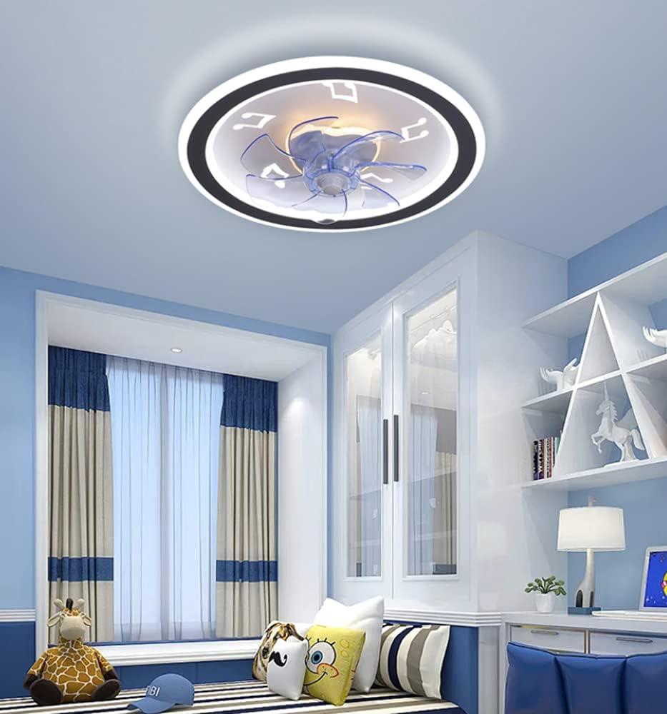 Ventilador para el techo con lámpara ultrafina 72W LED Regulable por control remoto El color de luz ajustable silenciosa y no da ruidez da más viento (Patrón de nota musical, Hojas de abanico azul)