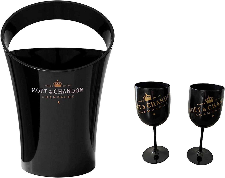 Moet Chandon - Enfriador para copas de champán y copas de champán, color negro y dorado