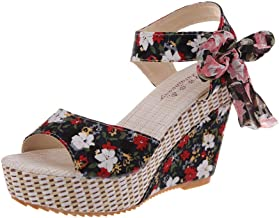 sandals for women Fashion wild print high heels flower bow women's wedge sandals