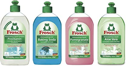 Frosch Hand Soap Dishwashing Liquid Sampler Variety Pack, 500 ml (Pack of 4)