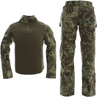 Best Men Combat T Shirt and Pant Set 1/4 Zip Camo Military Tactial Uniform with Long Sleeve BDU Airsoft Hunting Shirt Review