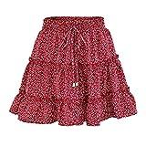 Yiqi Mujer Plisada Floral Cintura Alta Volantes Faldas Cortas Verano Falda de Playa Una Línea Básica Patinador Multifuncional Corto Falda (Rojo, M)