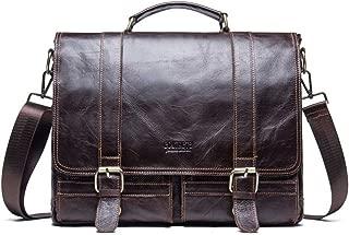 NYDZDM Men's Briefcase Messenger Bag Vintage Leather Crossbody Shoulder Satchel Bags 14 Inch Laptop Handbag Brown