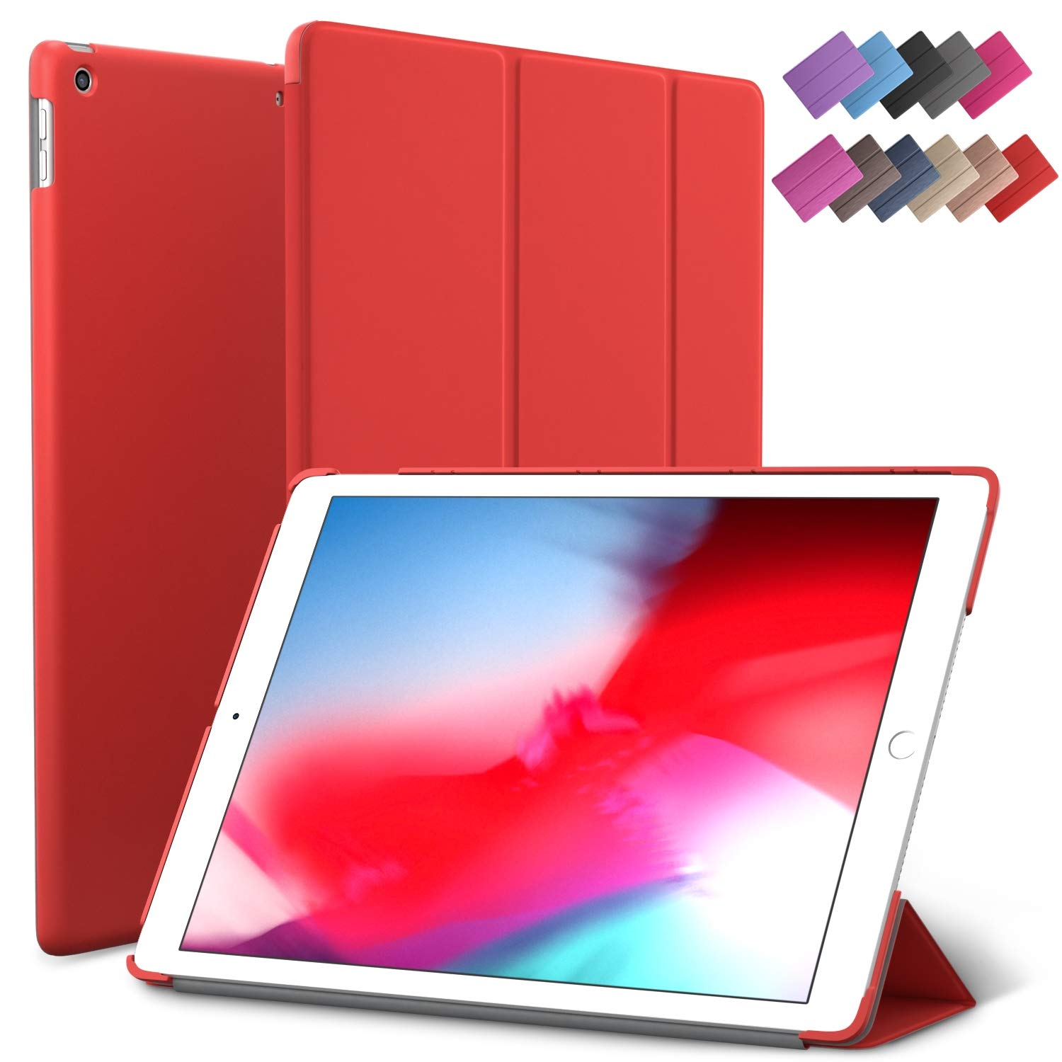 iPad Mini 5 case, ROARTZ Red Slim Fit Smart Rubber Coated Folio Case Hard Cover Light-Weight Wake/Sleep for Apple iPad Mini 5th Generation 2019 Model A2133 A2124 A2126 7.9-inch Dis