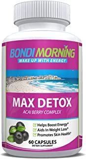 Max Detox Dietary Supplement – 100% Natural, Healthy & Safe New Formula, Pure Herbal Ingredients, Acai Berry, Papaya & Ginger, Promotes Colon Cleansing & Removes Toxins – 60 Capsules