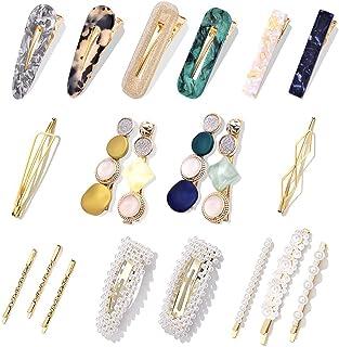 20Pcs Pearl Hair Clips Hair Pins Fashion Korean Style Pearls Hair Barrettes Sweet Artificial Macaron Acrylic Resin Barrett...