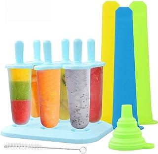 Molde para Helados, TedGem Moldes de Polos, 6 Moldes de Paletas Heladas, Moldes de Paletas sin BPA, con Cepillo de Limpieza y Embudo Plegable