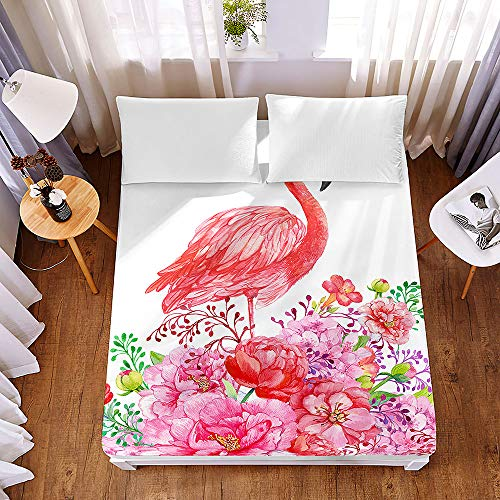 Bedding Fitted Sheets Extra Deep 30 cm, Morbuy Tropical Summer Flamingo Bedding Microfiber Soft Fade Resistant Bed Sheets for Single Double King Size, Only Bedsheet No Pillowcases (160*200*30cm,E)