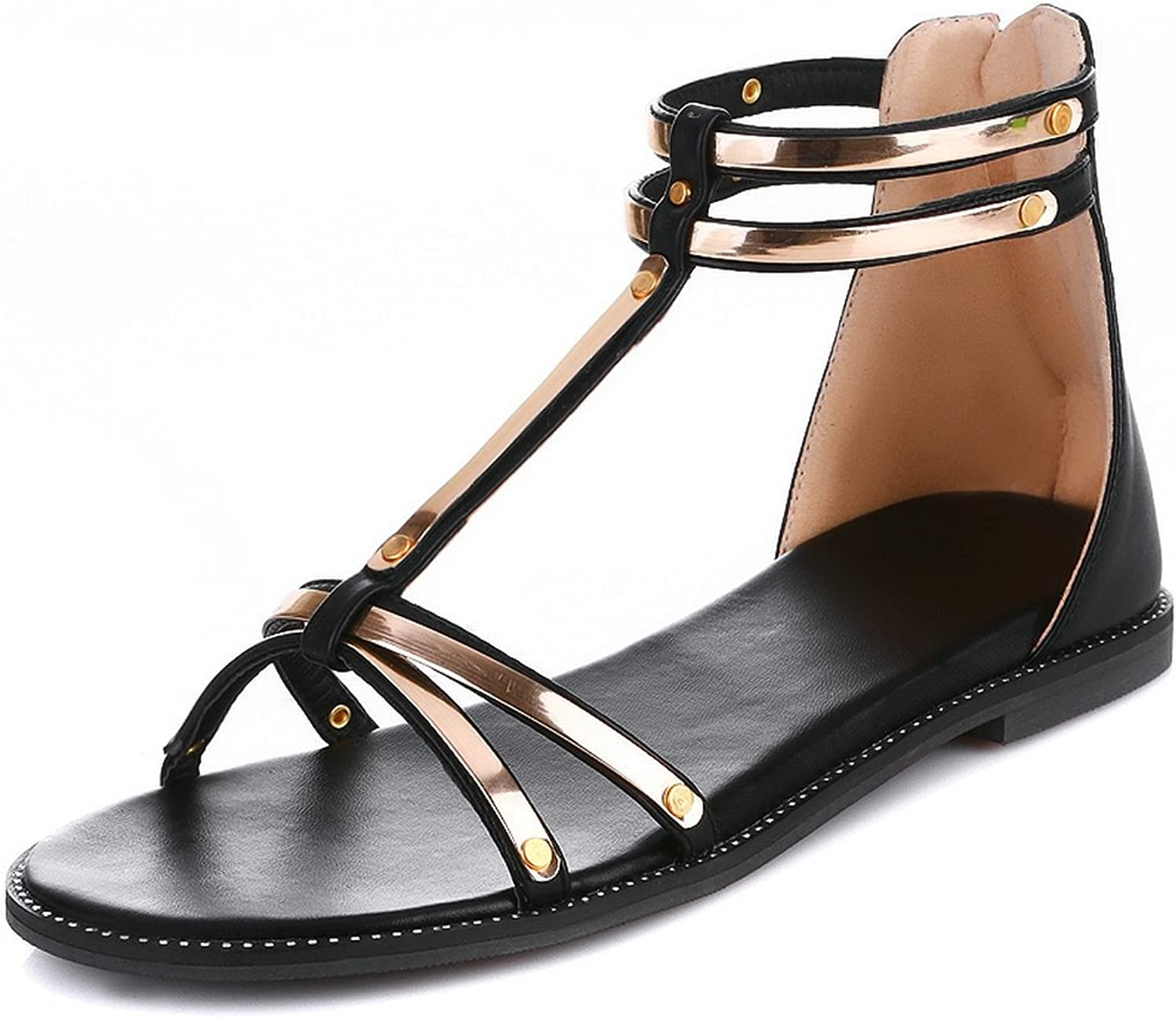 AIWEIYi Womens Summer T Strap Open Toe Ankle Strap shoes Casual Comfortable Gladiator Sandals gold