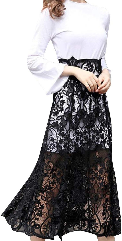 Winwinus Womens Lace Hem Line Fit Flare Trumpet Skirt 2Piece