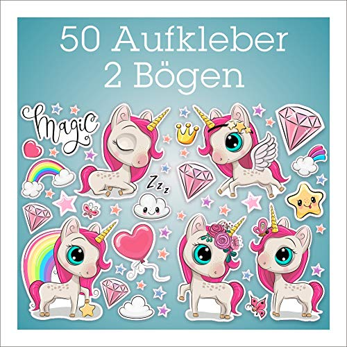folien-zentrum Einhorn Aufkleber 50 Stück auf 2 Bögen Unicorn Kinder-Sticker Set Bogen Zubehör Mädchen Sterne Wolken Herz Schmetterling Diamant Regenbogen (Set 1)