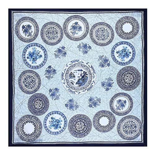 Keahup Damen Schal, Kunstseide, Strand-Schal, Vintage-Stil, chinesischer Stil, quadratisch, Blau und Weiß, Porzellan-Print blau