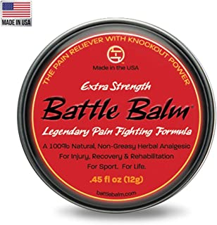 Extra Strength Pain Relief (0.45-Ounce) - Battle Balm | All-Natural and Organic Topical Analgesic for Arthritis, Muscle Soreness, Sprains, Strains and More.