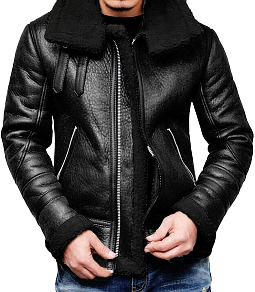 LEIYAN Mens Leather Jackets Zip Up Long Sleeve Sherpa Lined Lapel Collar Casual Motorcycle Bomber Anorak Coat Outerwear