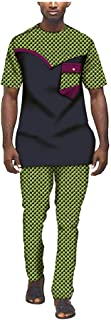 Mens African Ankara Print Shirt Suit Blouse and Trousers with Pocket Wax Cotton Tracksuit Dashiki