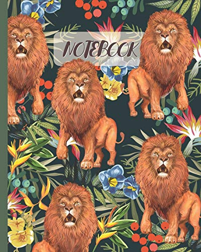 Notebook: Lions Drawing & Tropical Jungle - Lined Notebook, Diary, Track, Log & Journal - Cute Gift Idea for Boys Girls Teens Men Women (8'x10' 120 Pages)
