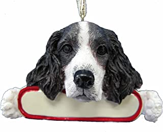 E&S Pets Springer Spaniel Ornament Santa's Pals with Personalized Name Plate A Great Gift for Springer Spaniel Lovers