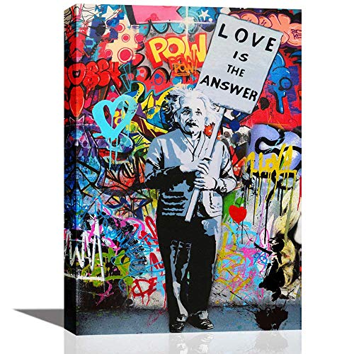 Wall Art for Living Room Inspirational Wall Art Poster Love Is The Answer Office Wall Decor Canvas Print Painting Colorful Figure Street Graffiti Artwork