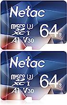 Netac 64G Scheda Micro SD Set da 2, Scheda di Memoria A1, U3, C10, V30, 4K, 667X, UHS-I velocità Fino a 100/30 MB/Sec(R/W) Micro SD Card per Telefono, Videocamera, Switch, Gopro, Tablet