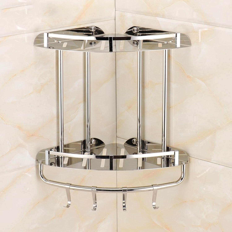 Yxsd Silver Stainless Steel Bathroom Storage Rack, 2 Tier Kitchen Bathroom Wall Shelf Storage Basket, 34  24  24cm