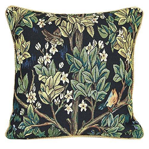 Décoration Fleur Taie d'Oreiller 45x45cm de Signare - Tapisserie Pour Canapé Chaise Siège Salon - William Morris/Tree of Life-Blue CCOV-ART-MORRIS-2