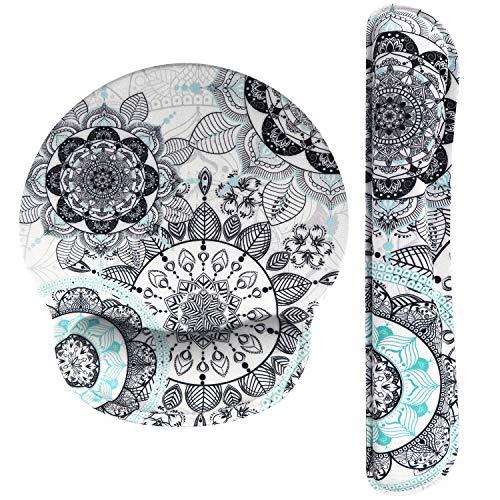 Haocoo Mauspad und Tastatur Handgelenkstütze Set Ergonomie,rutschfeste Gummiunterseite aus Memory-Schaum komfortables Mauspad Reduziert die Handgelenkbelastung (Mandala)