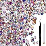 2880 Piezas Cristales para uas Abalorios de arte de uas AB Granos redondos Flatback Encantos con pinza de recogida y diamantes de imitacin Escoger la pluma (SS4 mixto 5 6 8 10 12)