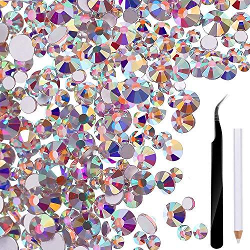 ZoWe 2880 Stück Nagel Kristalle AB Nail Art Strass Runde Perlen Flatback Glas Charms Edelsteine, mit Pickup Pinzette und Strass Picking Pen (Gemischt SS4 5 6 8 10 12)