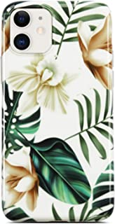 Coolwee iPhone 11 Case Cute Girls Green Leaves with White Brown Flowers Pattern Design Slim Thin Glossy Soft TPU Tropical Palm Clear Bumper Womens Protective Case for Apple iPhone 11 6.1 inch