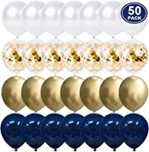 Navy Blue and Gold Confetti Balloons, 50 pcs 12 inch Pearl White and Gold Metallic Chrome Birthday Balloons for Celebration 2019 graduation party balloons