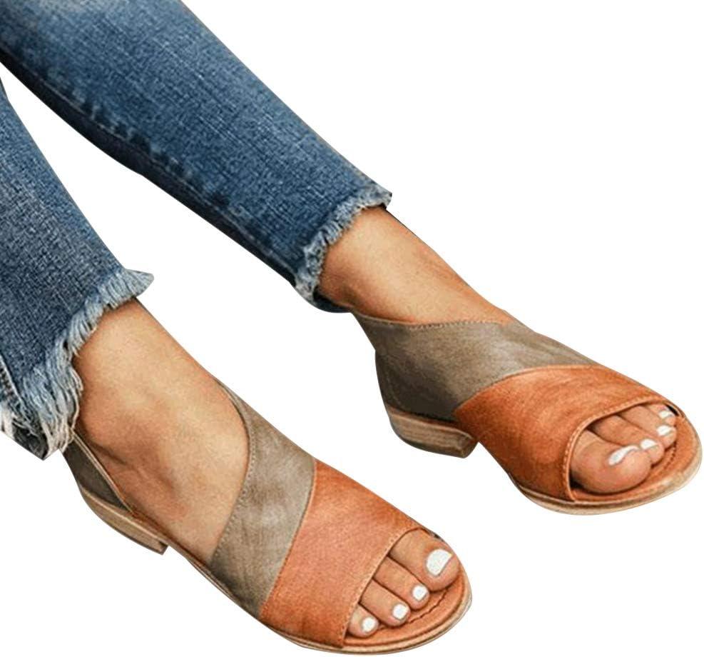 Casual Peep Toe Plain Flat Sandals