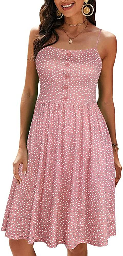 oxiuly Women's Casual Dress Beach Pockets A-Line Sundress Spaghetti Strap Button Cotton Party Dresses OX332