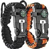 Survival Paracord Armband - Überlebens-Armband - Einstellbare Handgelenkgröße - Verstellbare Handgelenkgröße - Feuerstein - Messer - Kompass - Pfeife - Schirmseil - 5 in 1 Sport Camping Outdoor