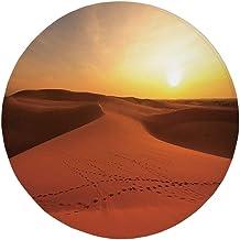 Round Rug Mat Carpet,Desert,Footprints on Sand Dunes at Sunrise Hot Dubai Landscape Travel Destination,Dark Orange Yellow,Flannel Microfiber Non-slip Soft Absorbent,for Kitchen Floor Bathroom