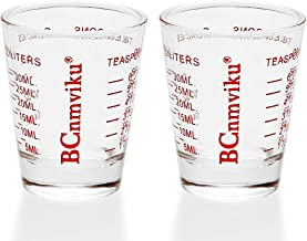 Small Measure Multi-Purpose Liquid and Dry Measuring Shot Glass, Heavy Glass, 26-Incremental Measurement Cups;Wine Measuring,Measures 1oz, 6 TSP, 2 TBS, 30ml (2pcs) (Red)