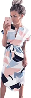 LitBud Womens Midi Dresses Summer V-Neck Short Sleeve Casual Office Geometric Belted Dress