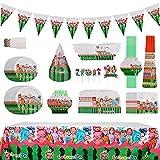 suministros para fiestas Cocomelon, Juego de 156 piezas de, incluye platos, servilletas, tazas y cubiertos para 10, decoración hawaiana para fiesta de Navidad, Happy Birthday Banner
