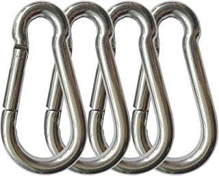 4PCS Spring Snap Hooks Carabiner, 304 Premium Stainless Steel 3.15 inch M8 Heavy Duty Carabiner Clips for Camping, Fishing...