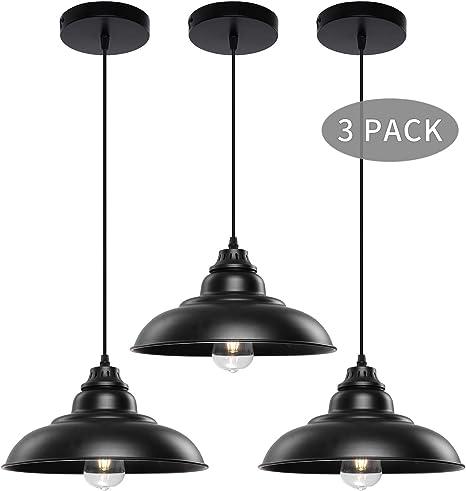 Pendant Lights Lika Industrial Barn Ceiling Light Fixtures Black Hanging Pendant Lighting For Kitchen Island Dining Room Foyer Black And Flat 3 Pack Amazon Com
