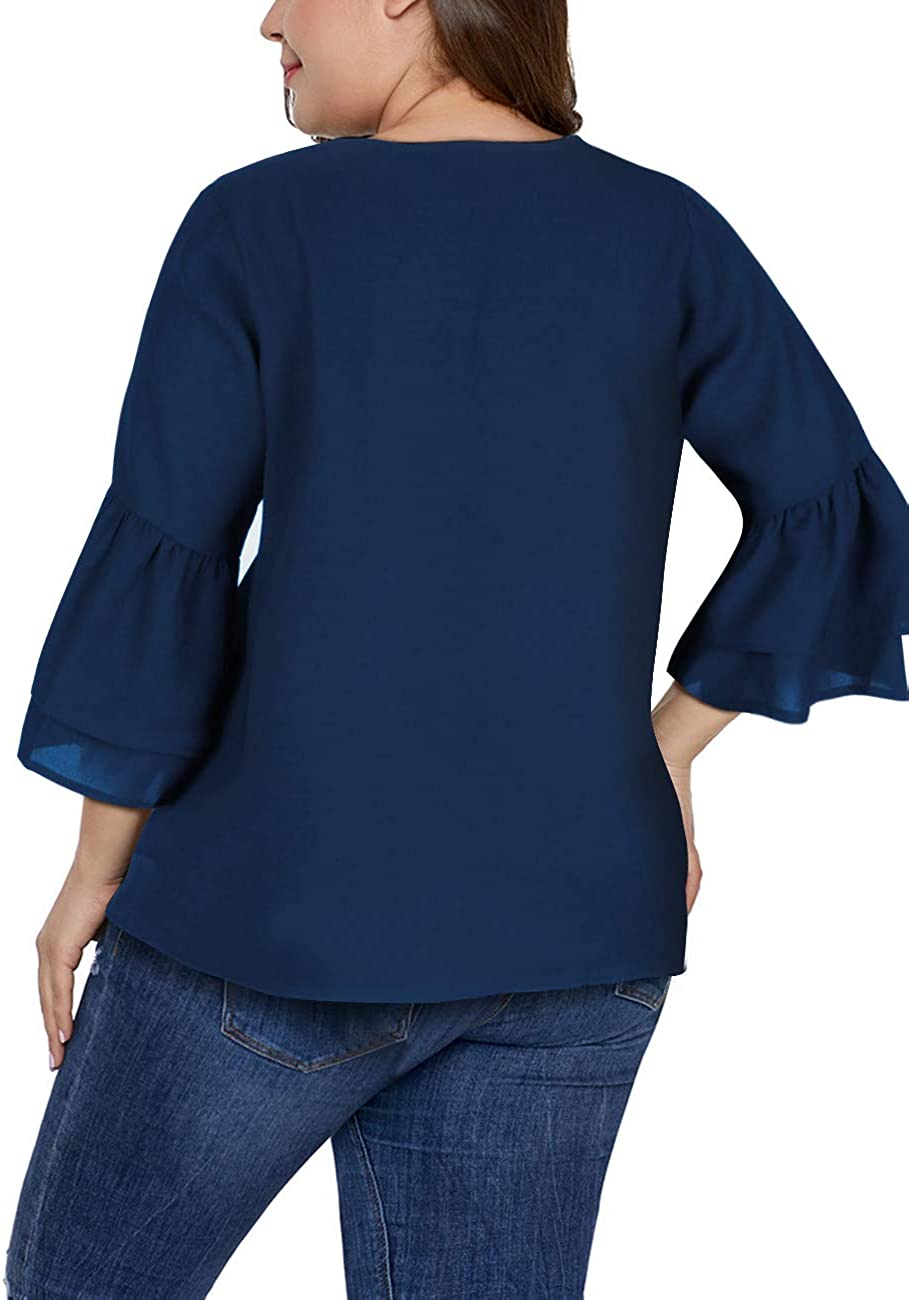 SELINK Women's Plus Size Tops V Neck Bell Sleeve Button Down Casual Loose Blouse Shirts