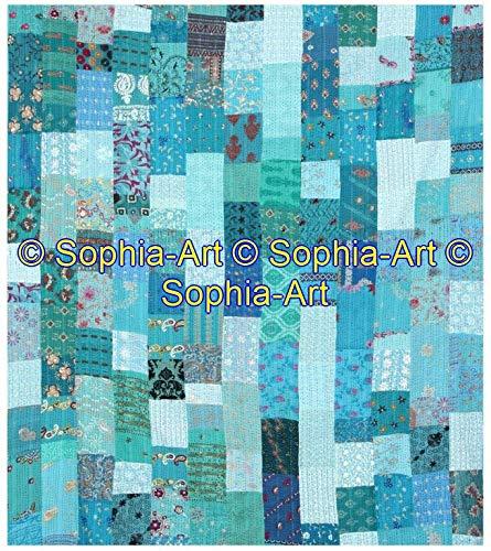 Sophia-Art Colcha india doble estilo vintage con diseño de patola antigua de seda india Sari Kantha, colcha de patchwork bohemia hecha a mano