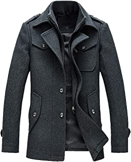 UJUNAOR Mens Coats Windproof Casual Winter Wool Jackets Regular Fit Trench Coat Tweed Outerwear Peacoats