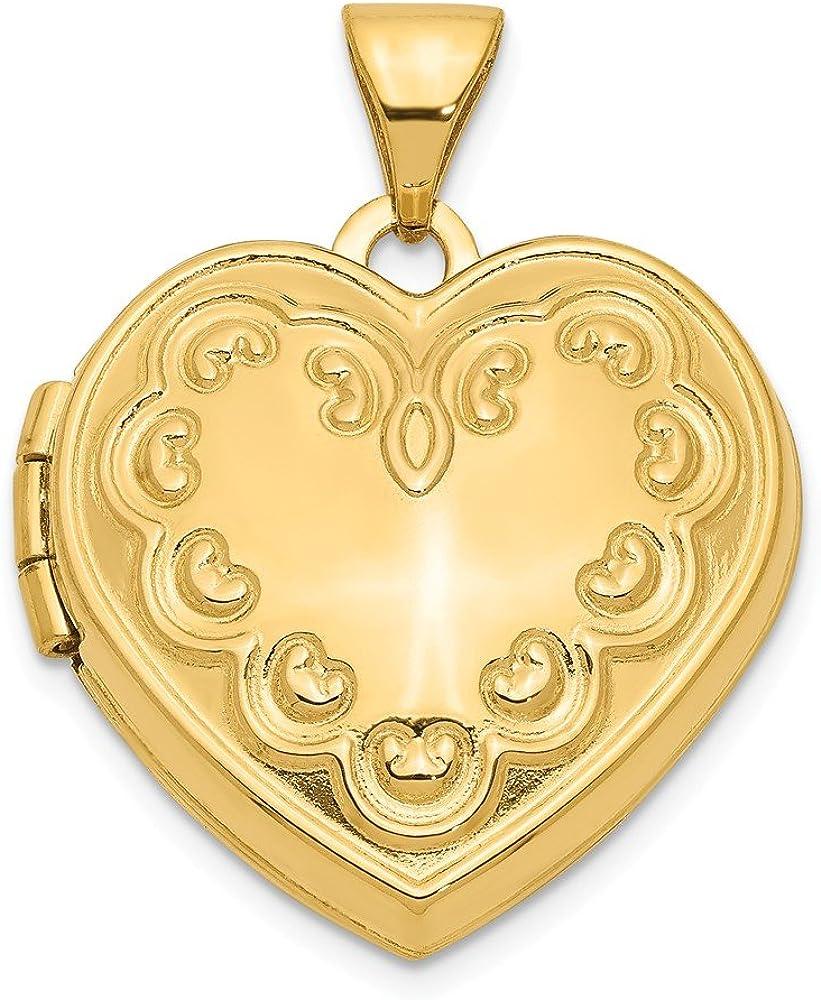 FB Jewels Solid 14K Yellow Gold Max 68% OFF Locket Luxury x Domed 0.91 Heart 0.71