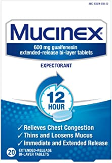 Chest Congestion, Mucinex Expectorant 12 Hour Extended Release Tablets, 20ct, 100 mg Guaifenesin with Extended Relief of Chest Congestion Caused by Excess Mucus. Thins and Loosens Mucus
