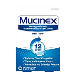 Chest Congestion, Mucinex 12 Hour Extended Release Tablets, 20ct, 600 mg Guaifenesin with extended r