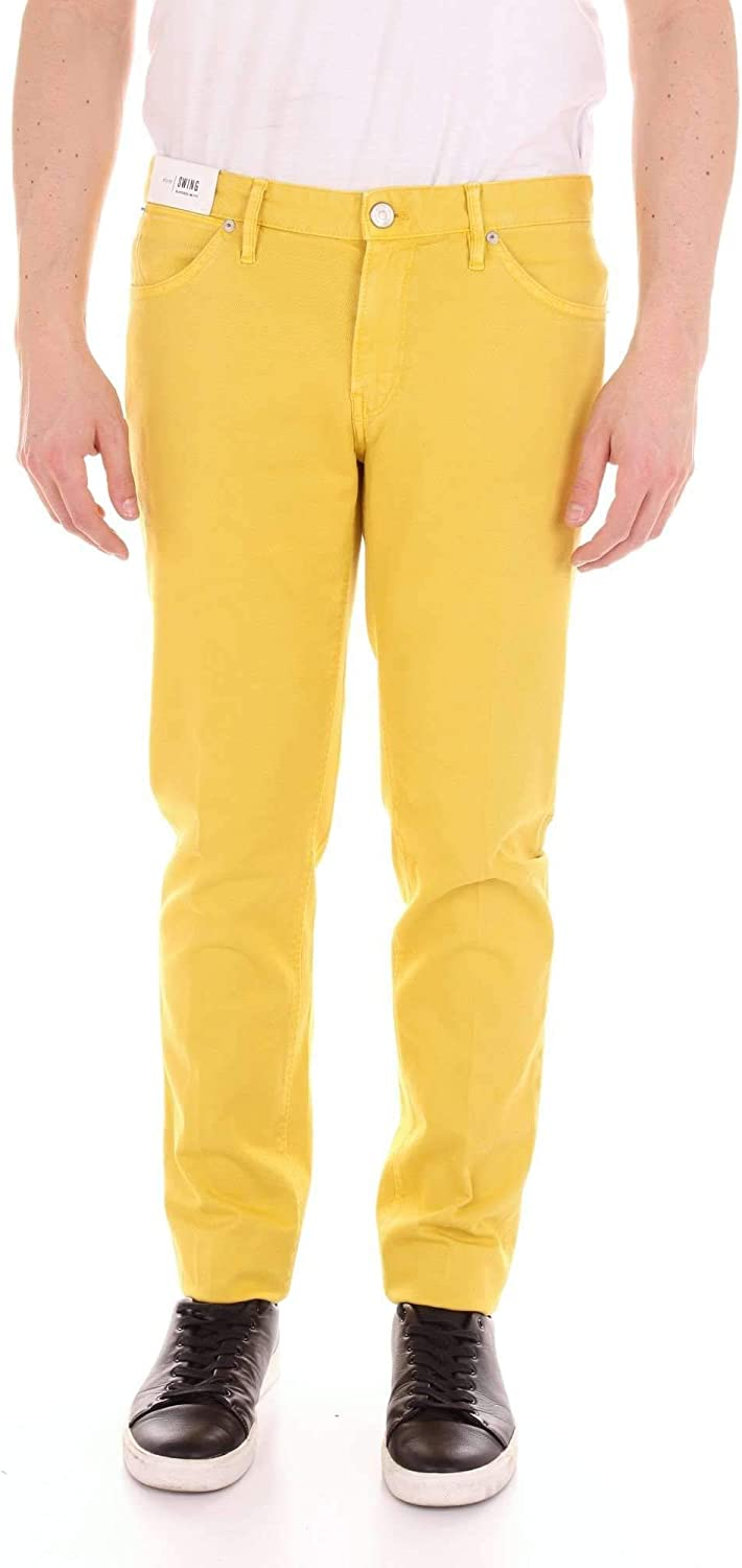 PT01 Men's TU59DT05Z00MINYELLOW Yellow Cotton Pants
