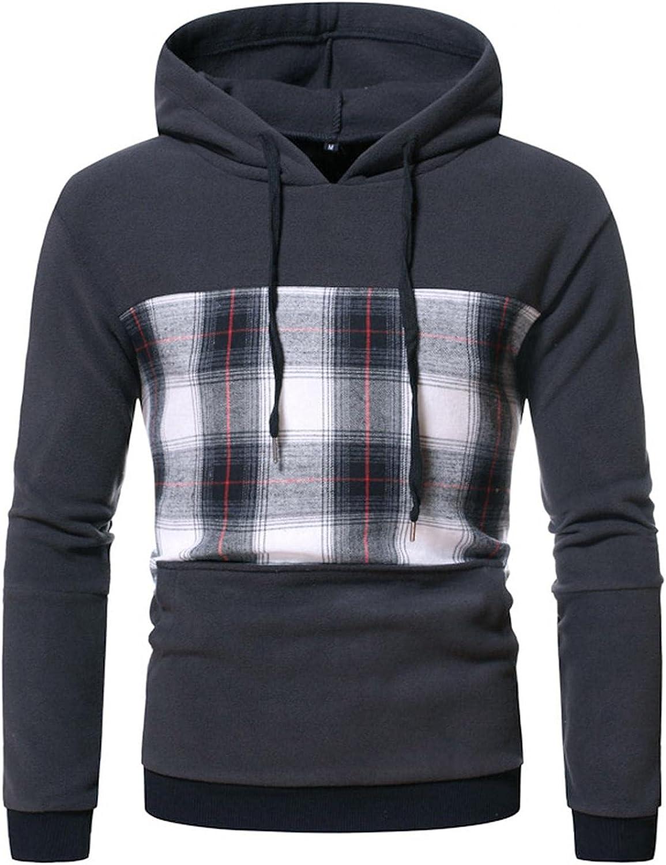 Aayomet Men's Hoodies Sweatshirts Patchwork Color Block Checked Casual Long Sleeve Hooded Pullover Tops Blouses Sweaters